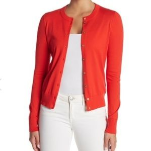 NWT J Crew Luxuriously Soft Red/Gold Cardigan!